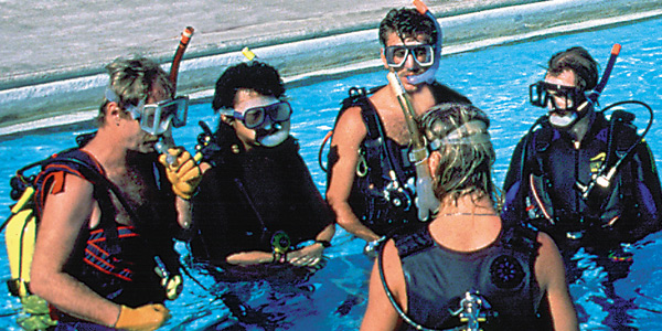 scuba training in a pool